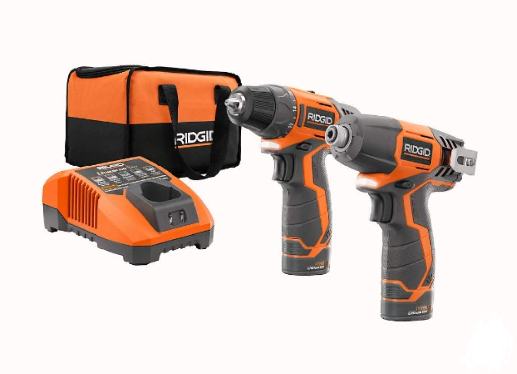 Ridgid R9000 12v Lithium Ion 2 Tool Cordless Drill Driver And Impact Kit With 2 1 5ah Batteries In 2020 Drill Drill Driver Cordless Drill Batteries