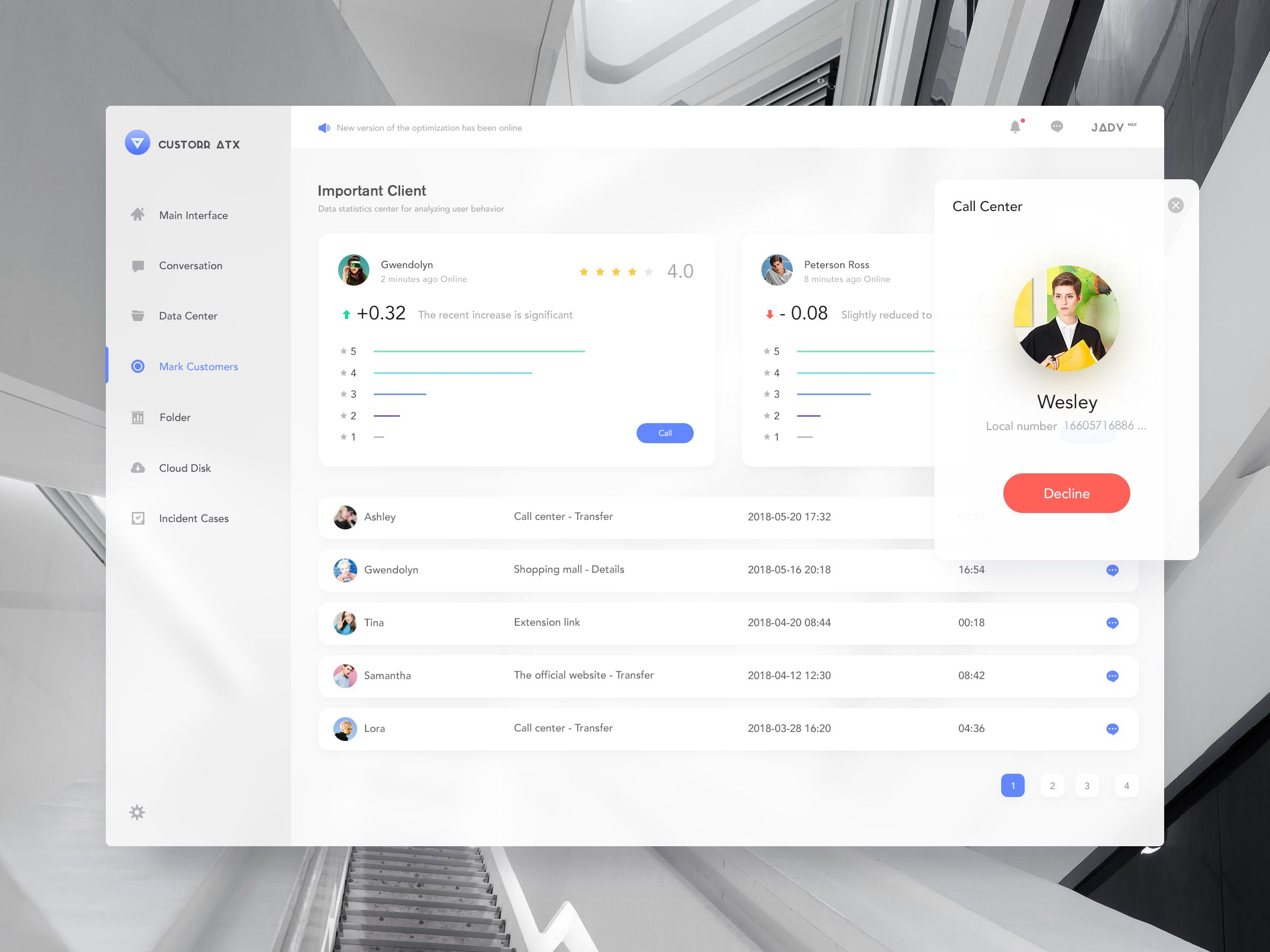 Customer Service Platform on Behance Web app design, App
