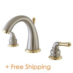 """Two Handle 8"""" to 16"""" Widespread Lavatory Faucet with Brass Pop-up Satin Nickel/Polished Brass KS2969"""