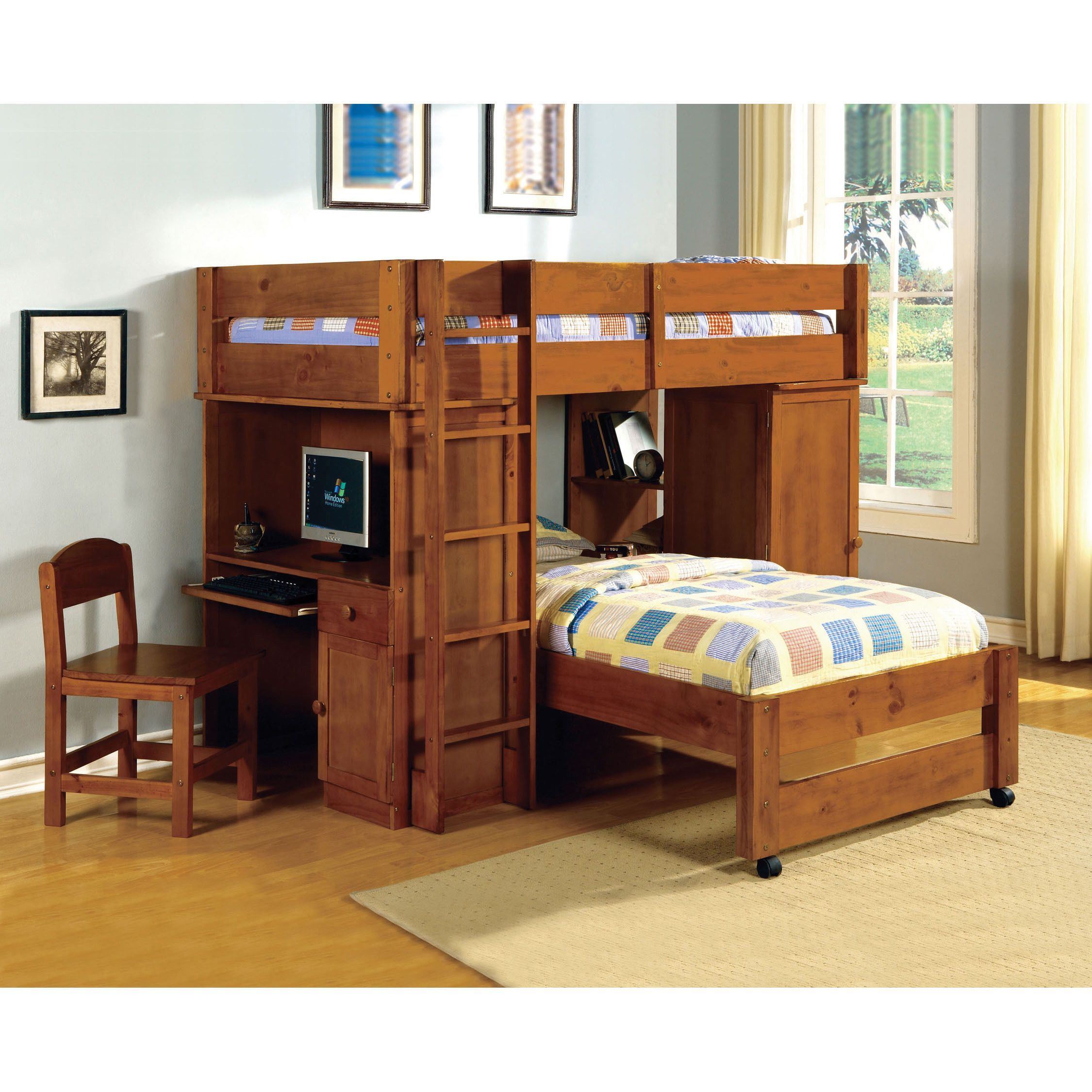 Double loft bed with desk  Make the most of your childrenus bedroom floor space with this all