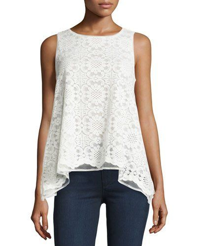TCBME Max Studio Lace A-Line High-Low Tank, Ivory