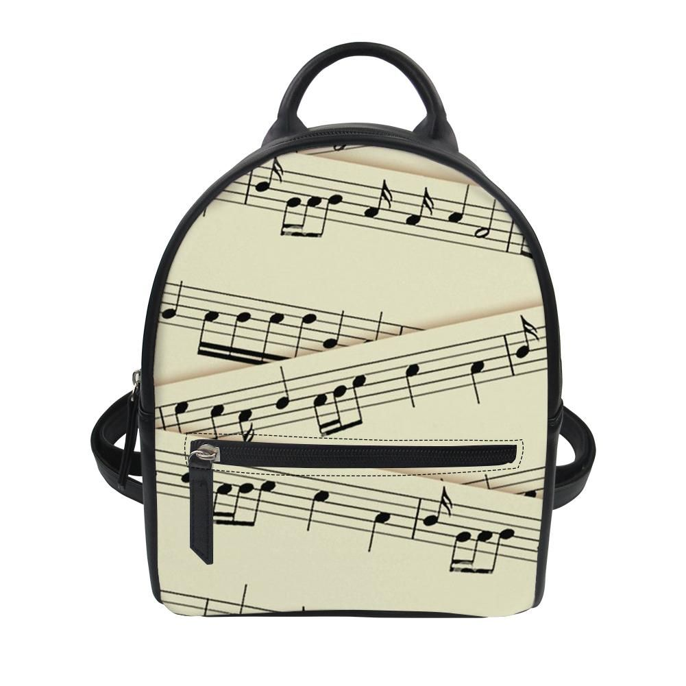 Forudesigns Music Line Printing Women Pu Leather Backpack For