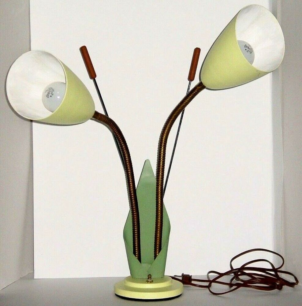 Vintage Mid Century Cattail Gooseneck Table Lamp Collectibles