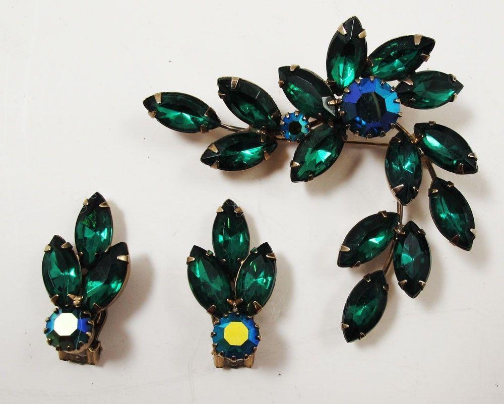 VTG KK9 JULIANA Rhinestone Emerald Green Brooch Pin Earrings Set 62713 Jewelry