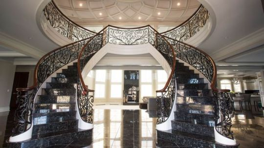 Home Interior Design A Grand Foyer With Marble Staircase OS