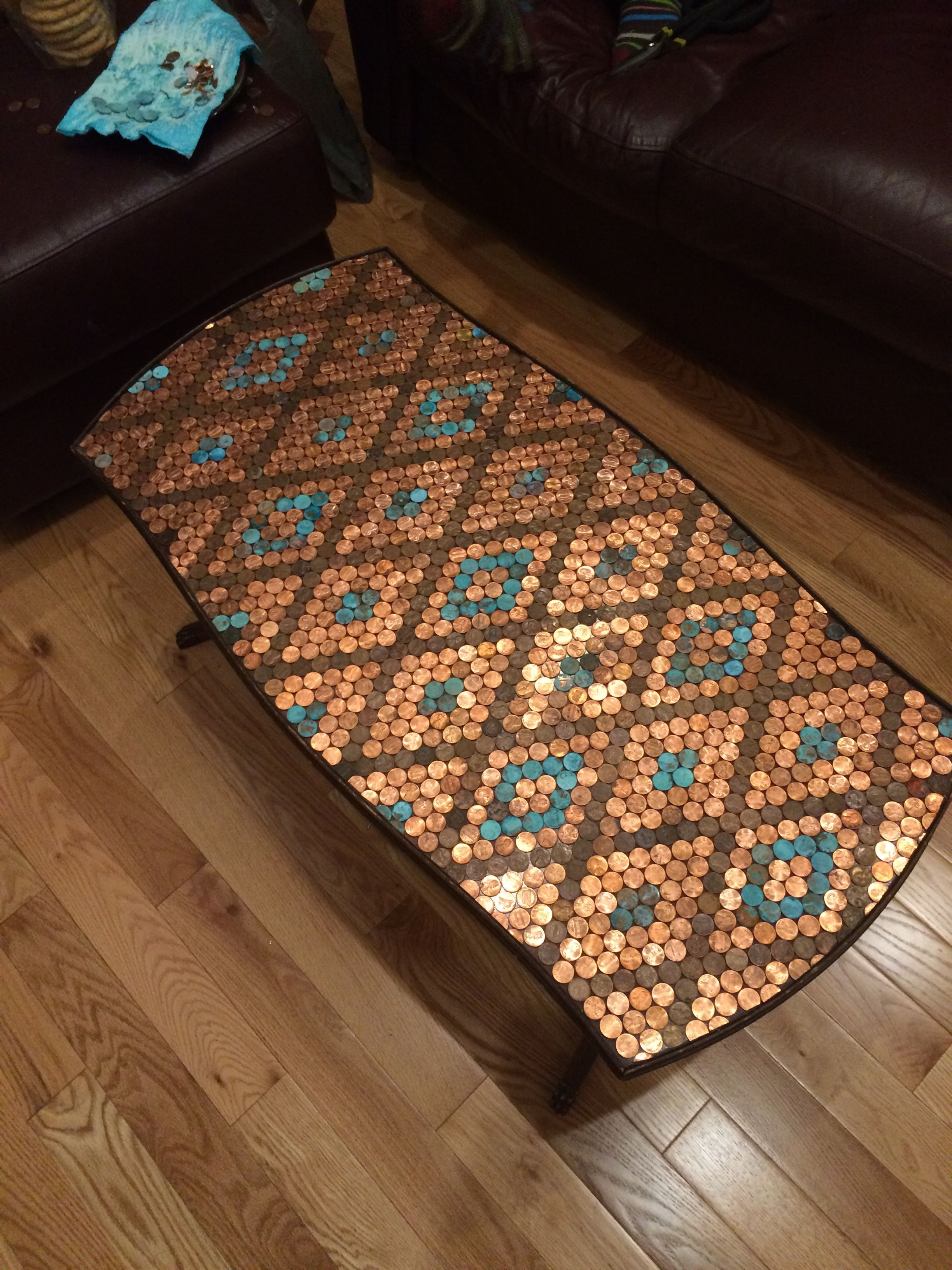 Penny Top Table Created With Epoxy And Corroded Pennies Epoxy