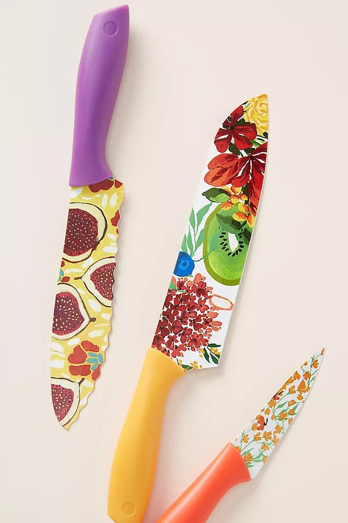 Market Kitchen Knives Set Of 3 Anthropologie Kitchen Knives Colorful Knife Set Knife Sets