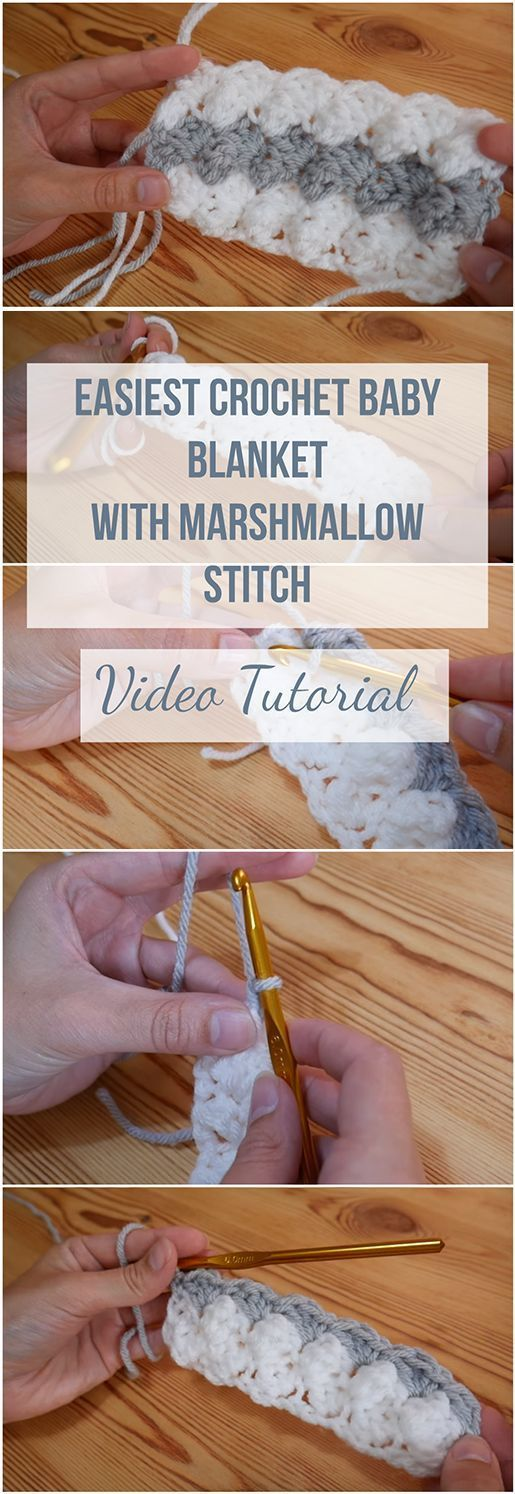 Easiest Crochet Baby Blanket With Marshmallow Stitch + Video Tutorial The best tutorial to learn how the Easiest Crochet Baby Blanket With Marshmallow Stitch is done along with a free video tutorial step-by-step! #marshmallows