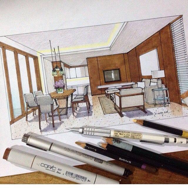 Espacio interior dibujo en rotulador pinterest for Espacio interior