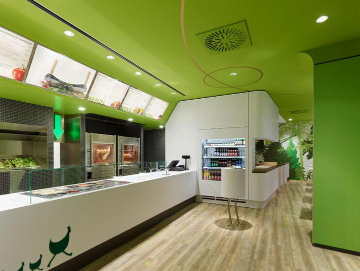 httpwwwinmagzcom uniquely green kitchen design in restaurant fast food - Fast Food Store Design