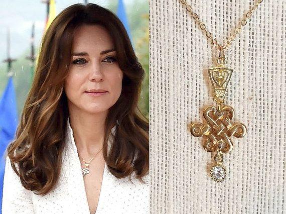 Kate Middleton Endless Knot Gold Cubic Zirconia Pendant