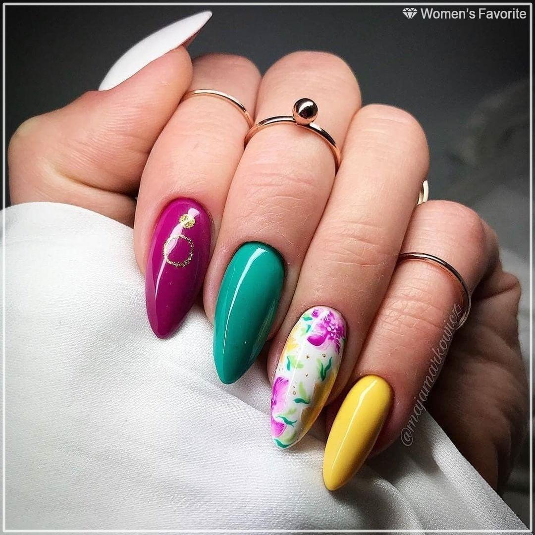 Яркие летние цвета #Nails_WF #nails #маникюр #yellow #blue ...