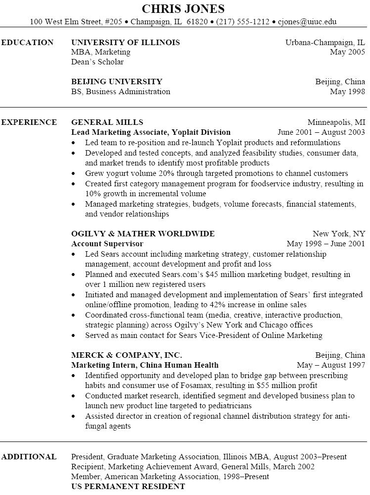 cv sample for marketing job