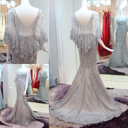 Petite - Plus Size Gray Beaded Mermaid Evening Dress with Sleeves SKU-122176