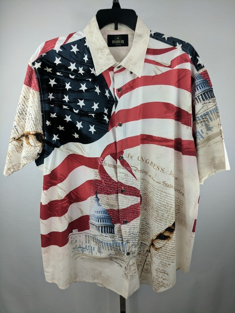 Redhead Mens American Flag Constitution 4th Of July Button Down Shirt Xxl Clothes American Flag Button Down Shirt