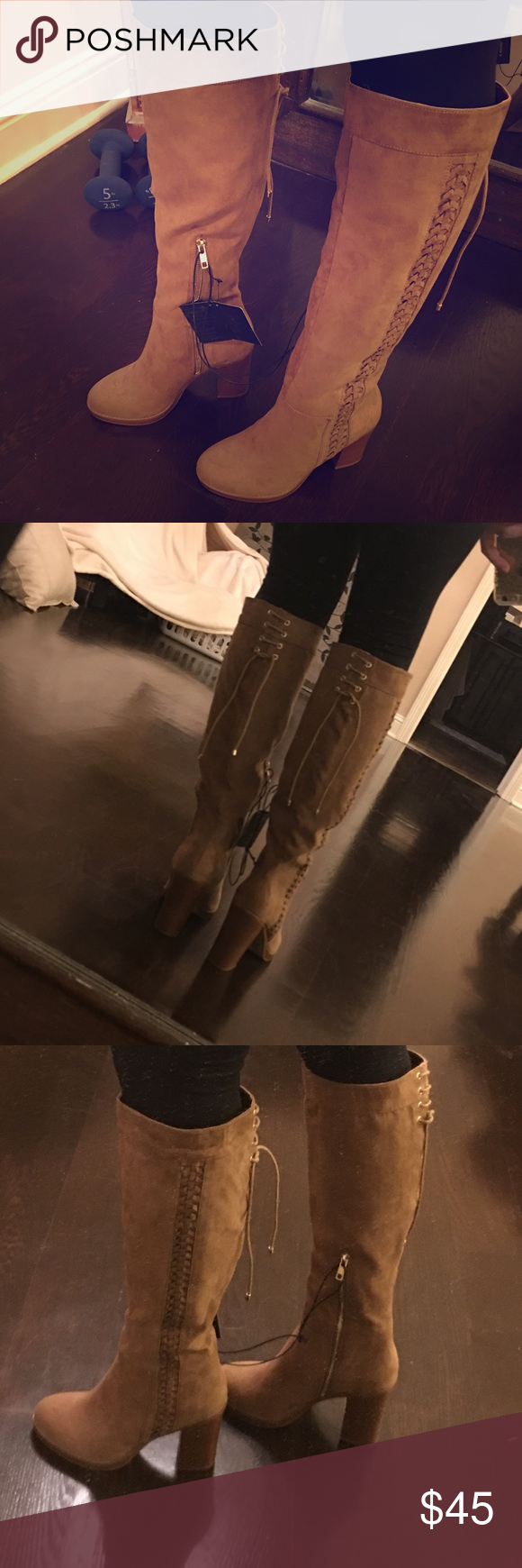 Tan Suede boots High suede taupe boots with lace up in the back size 8 takes still attached Forever 21 Shoes Heeled Boots