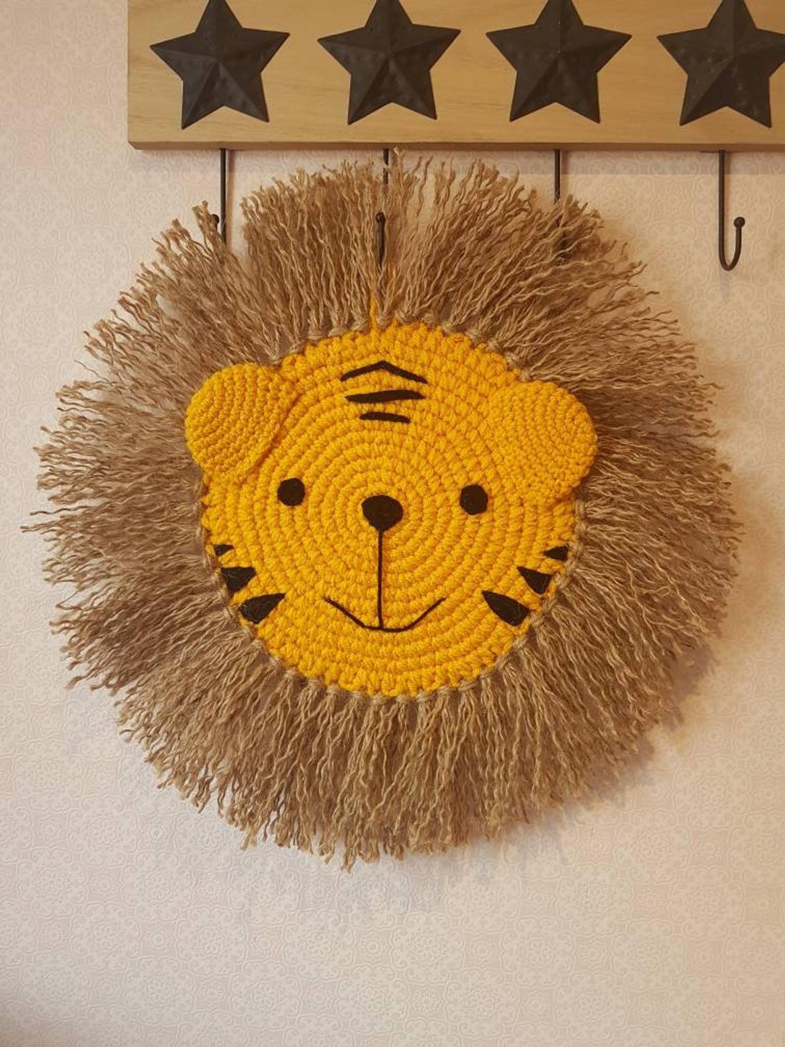 tiger wand aufhanger kunst wandteppich wandbehang tier kopf dekoration kinderzimmer dschungel themen wall art hanging hanger wandobjekte deko wanddekoration flur