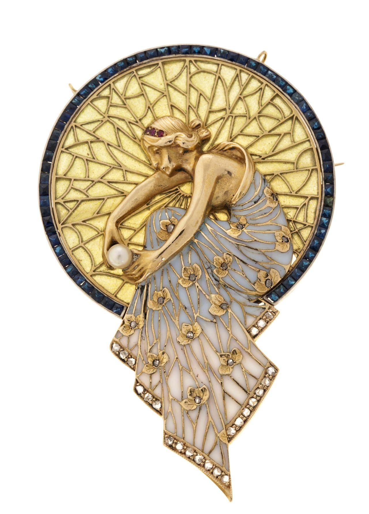 Art Nouveau pendants by jeweler Lluís Masriera i Rosés (1872-1958). Images from wikipedia.