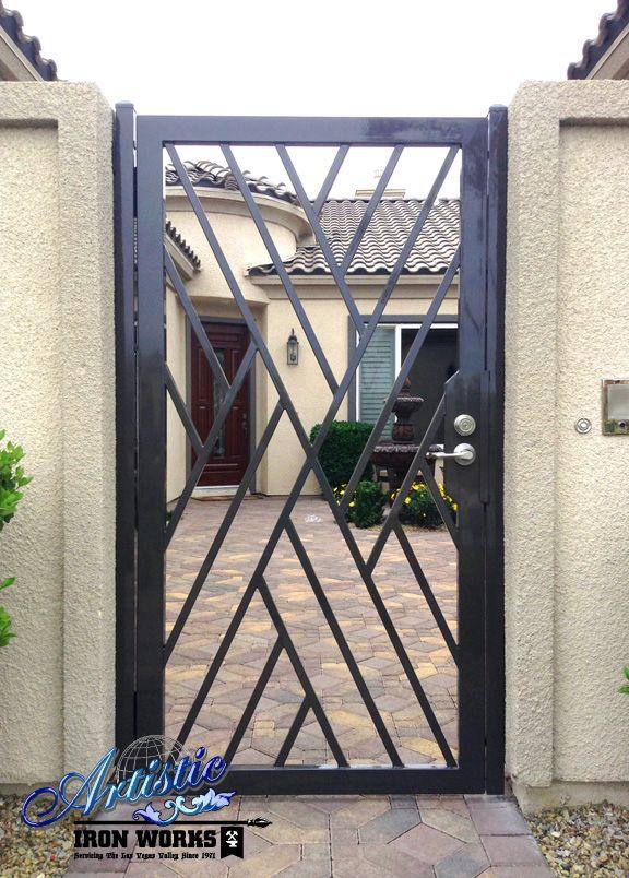 Wrought Iron Crisscross Front Entry Gate Door Gate Design Steel