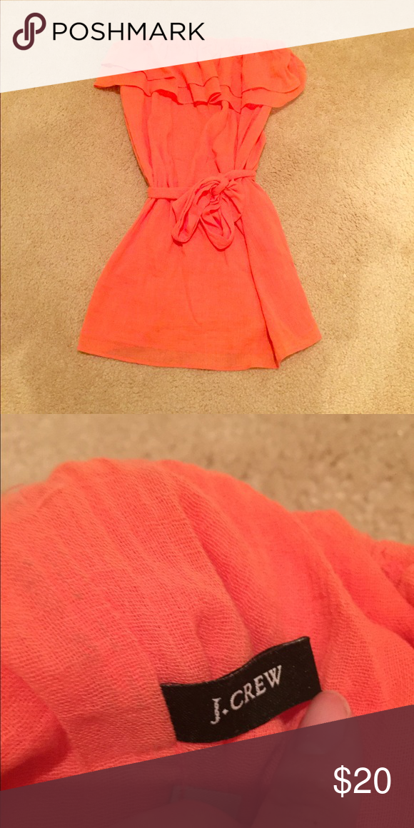 Jcrew strapless dress Jcrew coral color strapless dress with removable tie. Great for summer and even as a swim suit cover up! No sign of wear J. Crew Dresses
