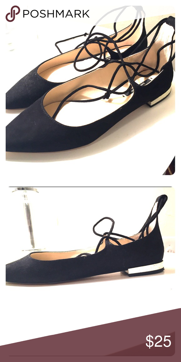 Zara Pointed Toe Lace Up Flats Worn once and in perfect condition. Velvet material ballet flats with lace up detail. Can be laced around ankle or up leg. Gold embellished detail on heel. Zara Shoes Flats & Loafers