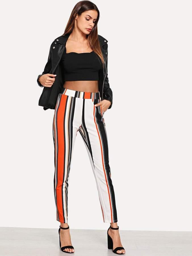 9fca1dd34f Shein Wide Waist Slant Pocket Striped Pants in 2019 | Products ...