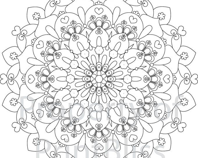 Flower Abstract Coloring Pages : Galaxy mandala canvas printable flower mandala and file