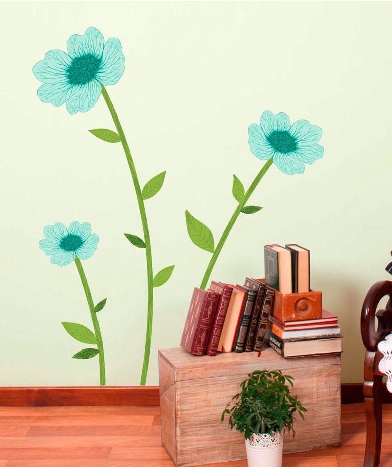 Flores art sticas vinilo adhesivo decoraci n de paredes for Adhesivos neveras decoracion