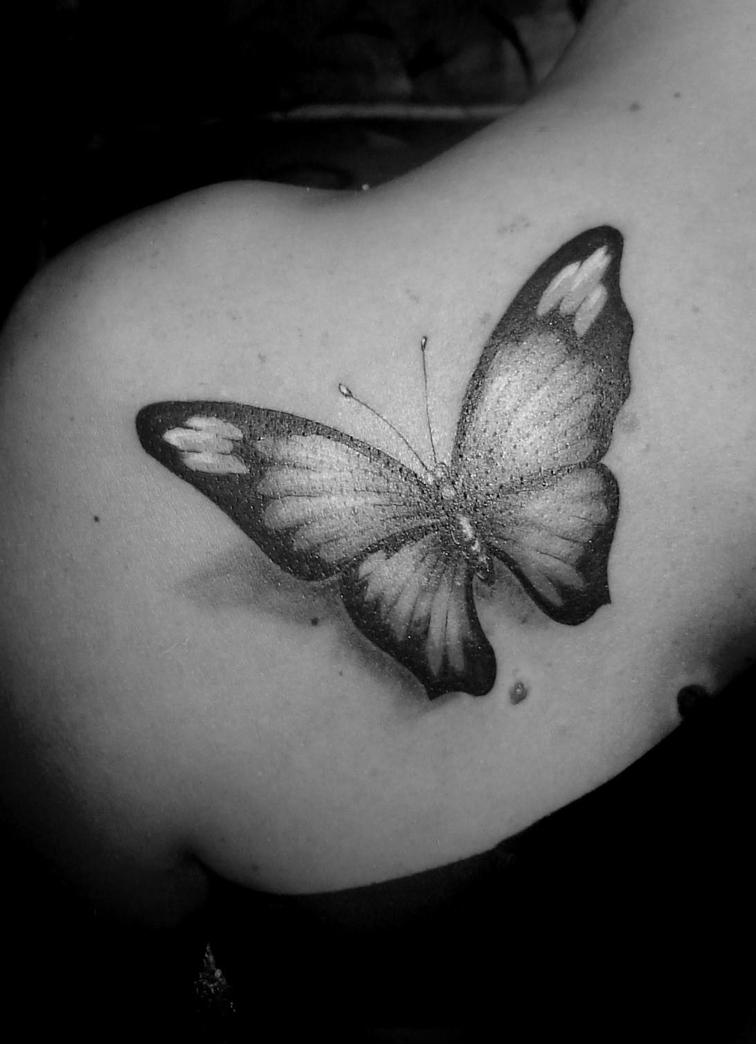 Realistic Black And White Butterfly And Small Geometric Figures Tattoo Design Geometric Tattoo Design Realistic Butterfly Tattoo Butterfly Tattoo