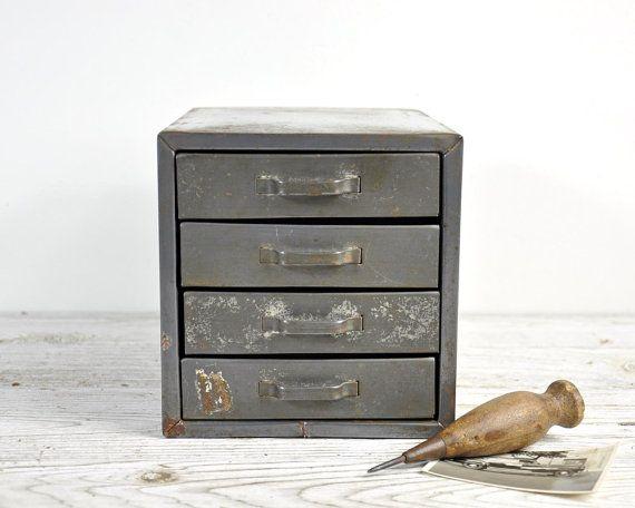 Beau Vintage Small Drawer Cabinet, Metal Drawer Cabinet, Drawer Bin, Industrial  Cabinet, Industrial