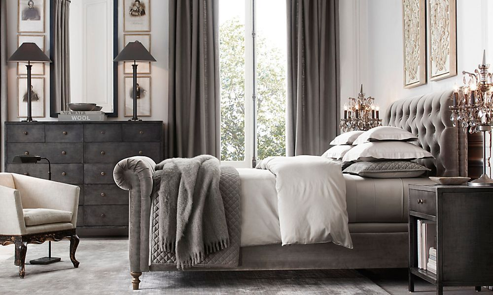 restoration hardware bedding cream bedrooms sleigh beds bedroom