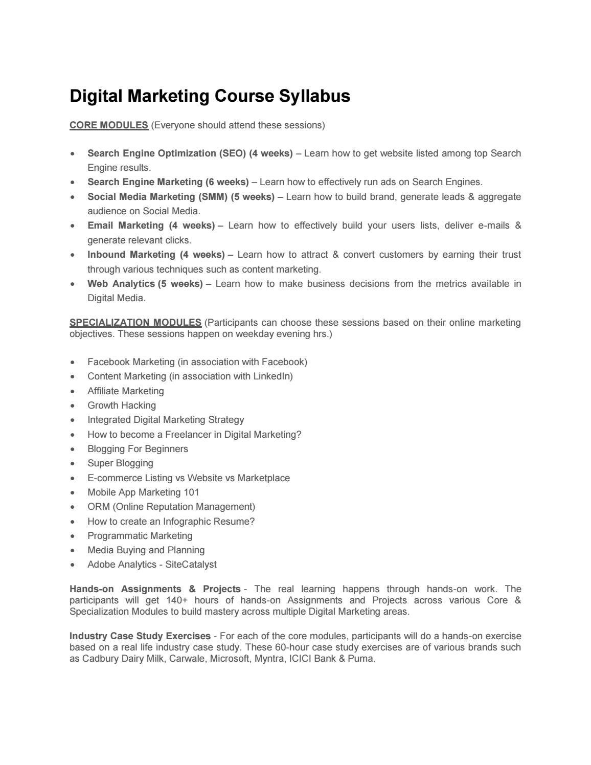 Digital Marketing Course Syllabus Marketing Courses Digital Marketing Syllabus