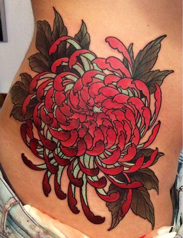 93af54fb8 chrysanthemum side tattoo - 45 Beautiful Chrysanthemum Tattoo Ideas <3 <3