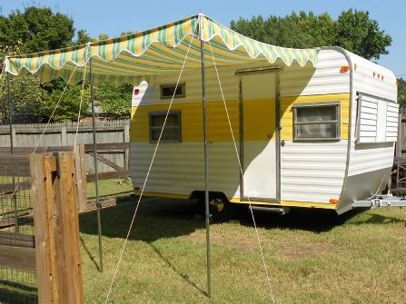 Camper Retro Vintage Awning Canopy Sun Shade
