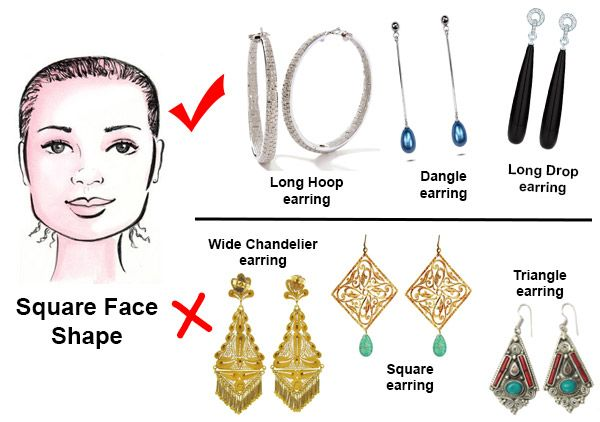 Selecting The Most Flattering Earrings Styles Based On Your Face Shape Here Are Examples For A Square Shape F Earrings Square Face Face Jewellery Square Faces