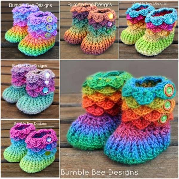 DIY Lovely Crocodile Stitch Crochet Booties | Botines en croché ...
