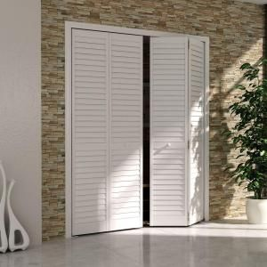 Kimberly Bay 36 In. X 80 In. 36 In. Plantation Louvered Solid Core Painted  White Wood Interior Closet Bi Fold Door
