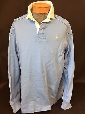 Men S Ralph Lauren Polo Rugby Shirt Long Sleeve Light Blue Sz