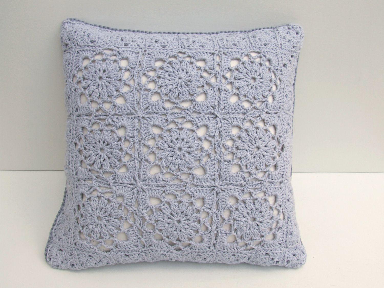 Crochet cushion cover lacy organic cotton crochet cushion cover