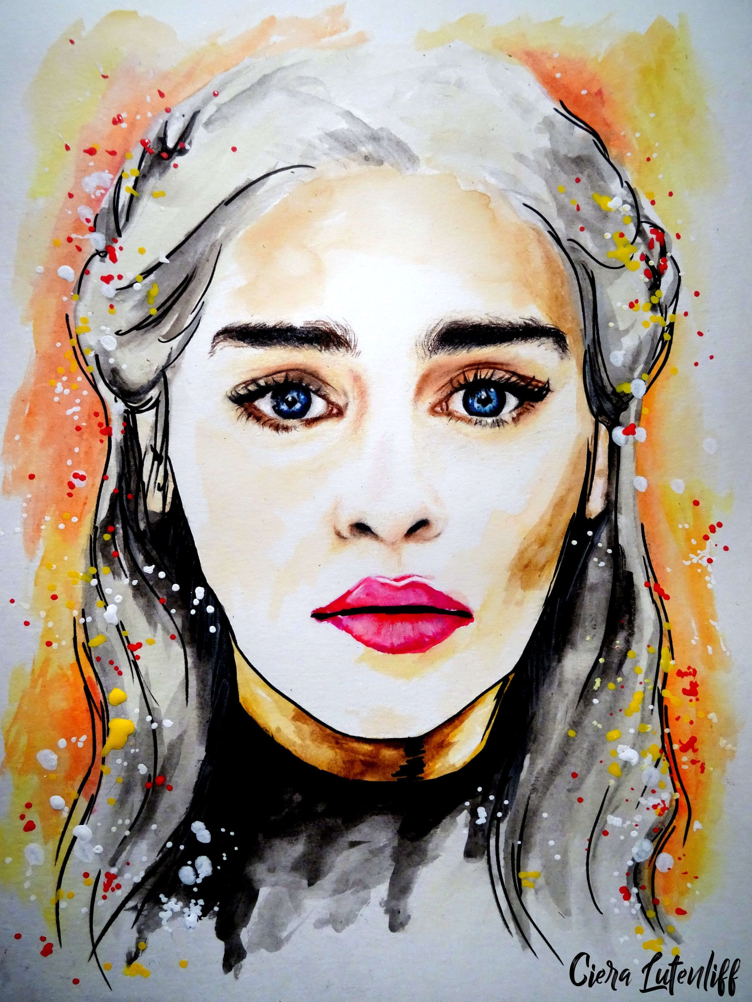 Daenerys Targaryen Emilia Clarke Watercolor Aquarelle Got