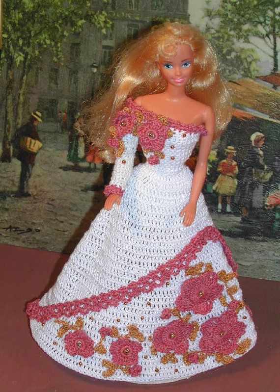 Crochet Fashion Doll Barbie Pattern 128 Debutante Barbiekleider