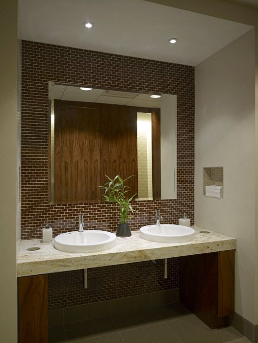 Executive restroom great design and use of space clear for Washroom decor ideas