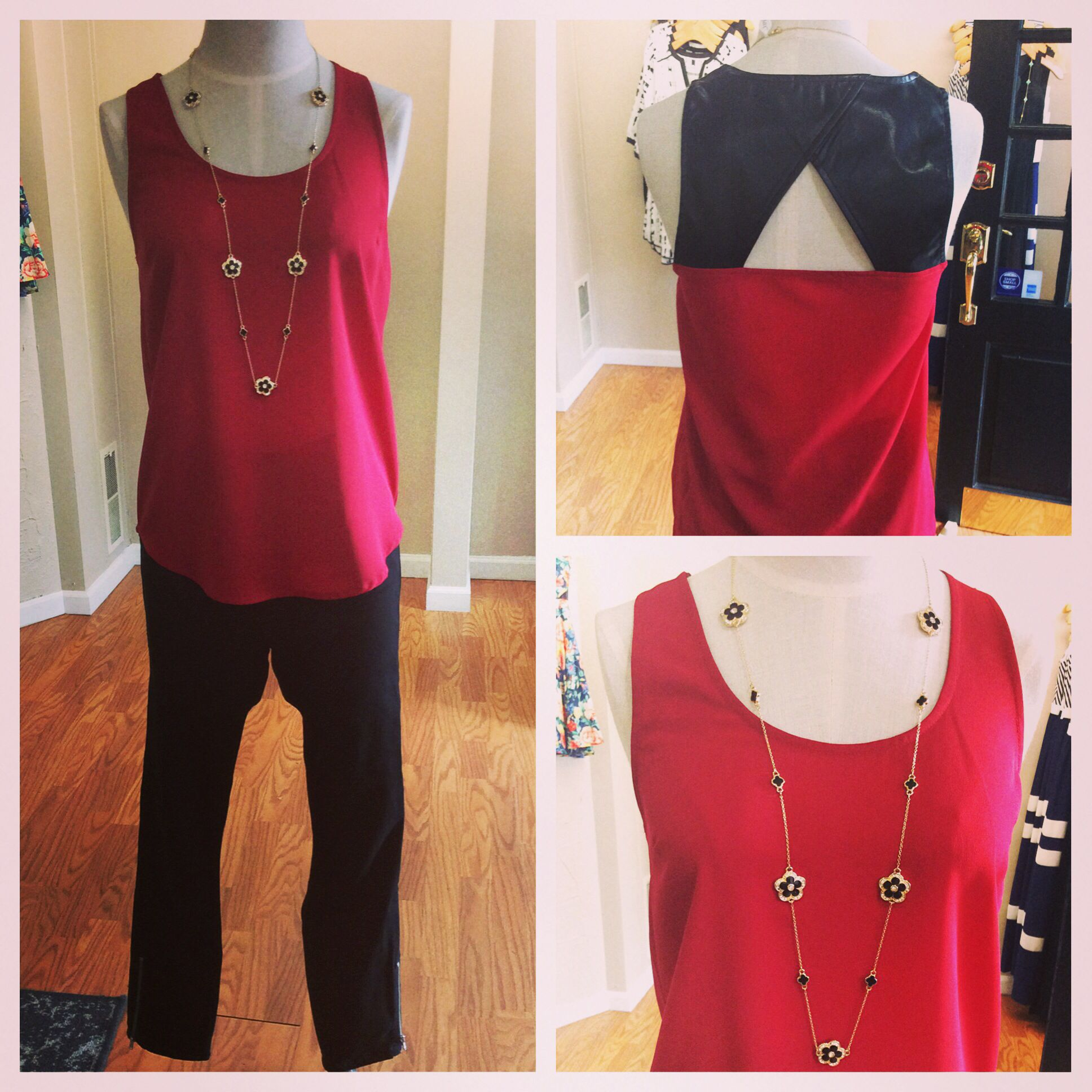 JAX Look of the Day! Cropped jeans are perfect year round to wear with wedges or heels when it's warm and easily tuck into boots for the fall. They look great now into fall with a faux leather detail tank from Jack by BB Dakota and this fun long flower and rhinestone necklace that will dress up any outfit! #jaxboutique #jaxhaddonfield #downtownhaddonfield #lookoftheday #bbdakota #level99