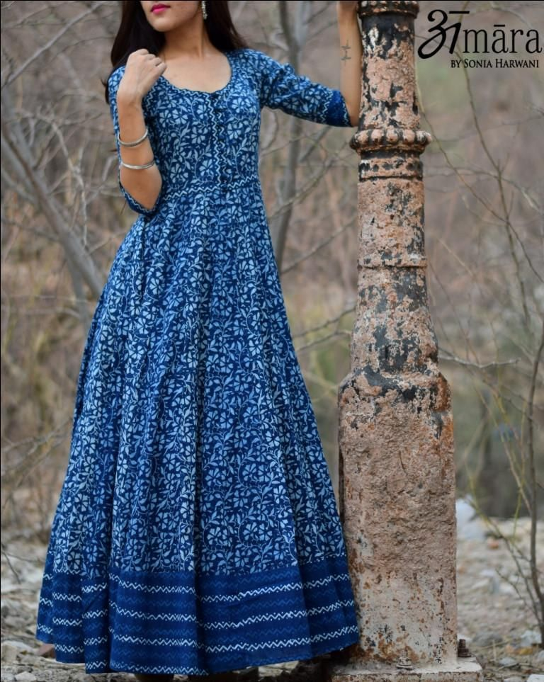 Floor Length Indigo Maxi Dress In Bagru Printed Cotton Available With Little Print Variation Indigo Maxi Dress Maxi Dress Cotton Cotton Long Dress