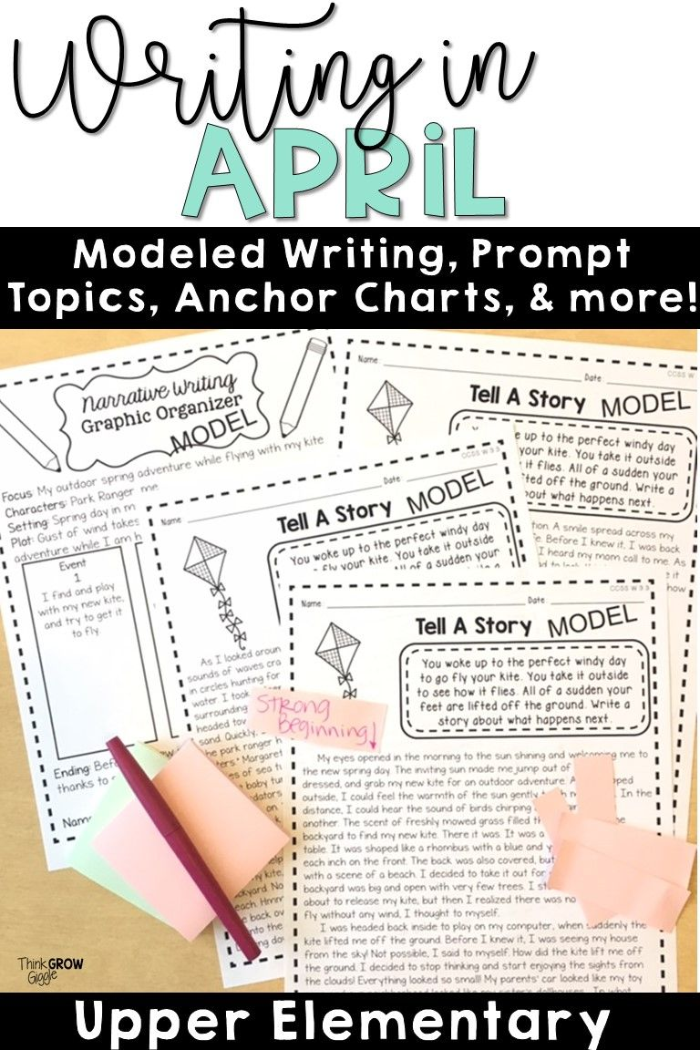 April Writing Prompts Informational writing graphic