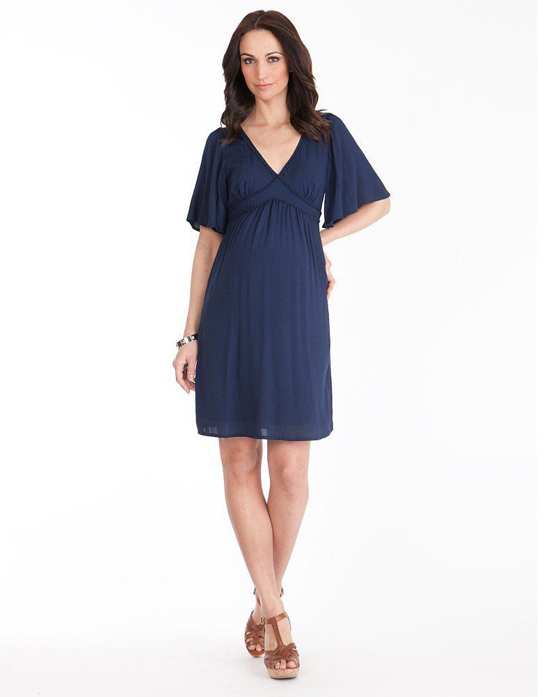 4859dd72a1bf9 Kate Middleton's maternity dress designer of choice, Séraphine, has another  winner on her hands with the Navy Flutter Sleeve Maternity Dress ($85).