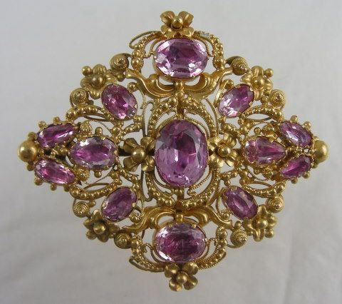 15 carat gold and pink topaz brooch, English ca. 1820