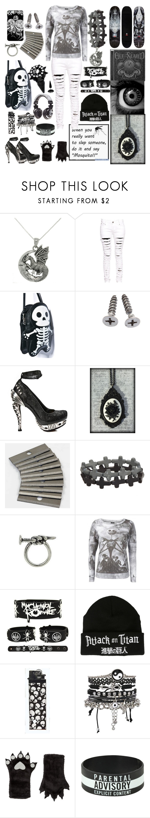 """""""black white and grey lol :3"""" by xenomorphs4life ❤ liked on Polyvore featuring Carolina Glamour Collection, Boohoo, Comeco, Skullcandy, ASOS and Accessorize"""