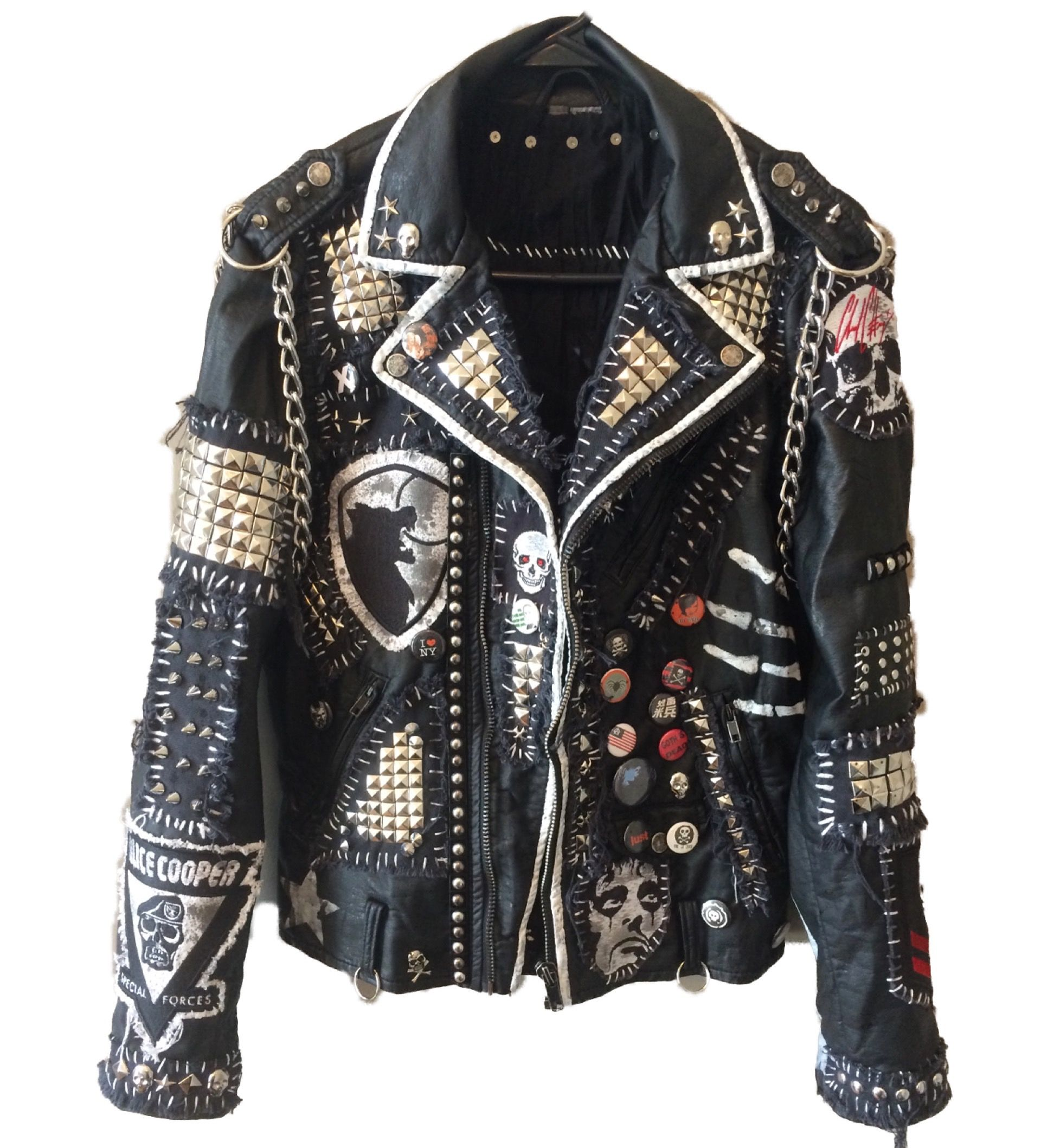 Vampire Empire jacket by Chad Cherry. Distressed, punk rock, heavy metal,  studded, spiked, custom jackets from ChadCherryClothing. d95f2a3252