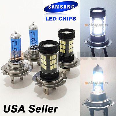 Combo H7-White-100W-Halogen H7-Samsung 57-LED 6000K Headlight Bulb #Mp1 Low Beam